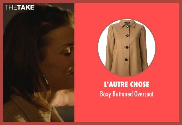 L'Autre Chose beige overcoat from John Wick seen with Bridget Moynahan (Helen)