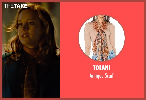 Tolani brown scarf from Free Fire seen with Brie Larson (Justine)