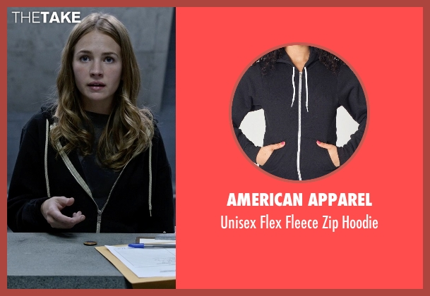 American Apparel black hoodie from Tomorrowland seen with Britt Robertson (Casey Newton)