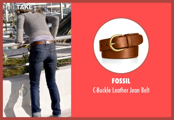 Fossil brown belt from Tomorrowland seen with Britt Robertson (Casey Newton)