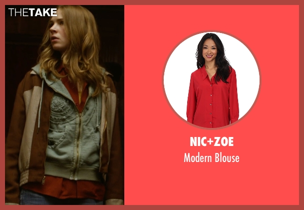Nic+Zoe red blouse from Tomorrowland seen with Britt Robertson (Casey Newton)