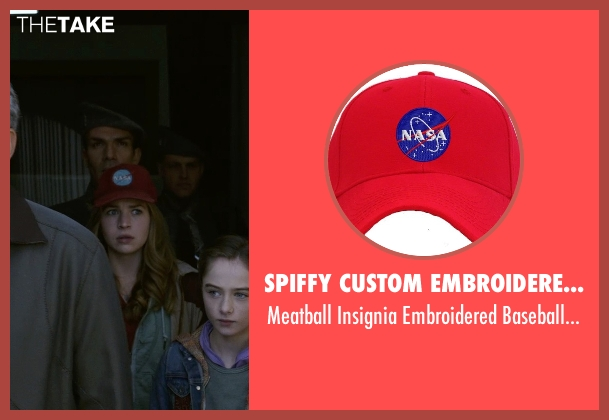 Spiffy Custom Embroidered Caps red cap from Tomorrowland seen with Britt Robertson (Casey Newton)