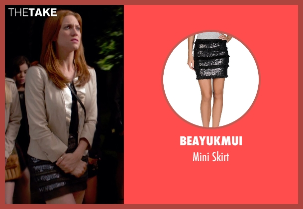 Beayukmui black skirt from Pitch Perfect 2 seen with Brittany Snow