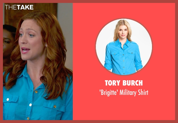 Tory Burch blue shirt from Pitch Perfect 2 seen with Brittany Snow (Unknown Character)
