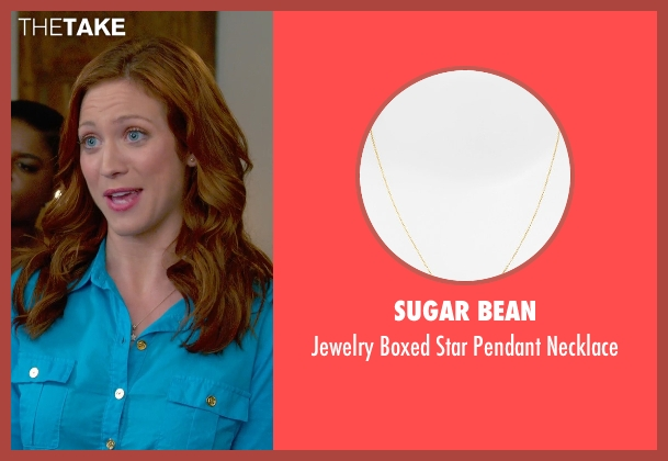 Sugar Bean gold necklace from Pitch Perfect 2 seen with Brittany Snow