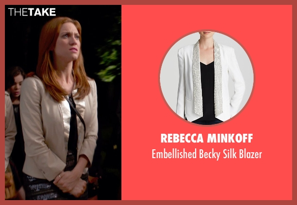 Rebecca Minkoff white blazer from Pitch Perfect 2 seen with Brittany Snow