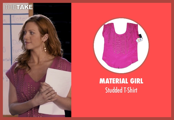 Material Girl pink t-shirt from Pitch Perfect seen with Brittany Snow (Chloe)