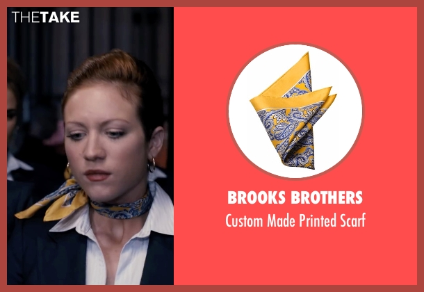 Brooks Brothers yellow scarf from Pitch Perfect seen with Brittany Snow (Chloe)