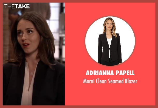 Adrianna Papell black blazer from The Great Indoors seen with Brooke (Susannah Fielding)