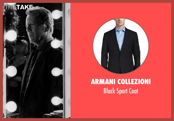 Armani Collezioni black coat from Frank Miller's Sin City: A Dame To Kill For seen with Bruce Willis (John Hartigan)