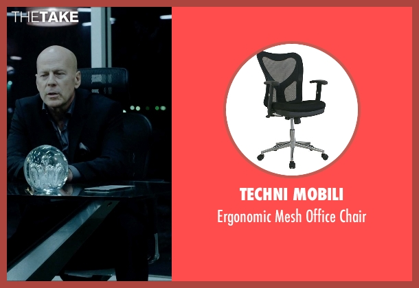 Techni Mobili black chair from Vice seen with Bruce Willis (Julian Michaels)