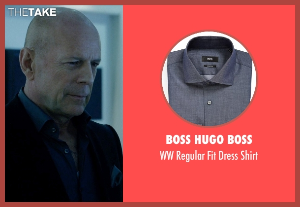 Boss Hugo Boss gray shirt from Vice seen with Bruce Willis (Julian Michaels)