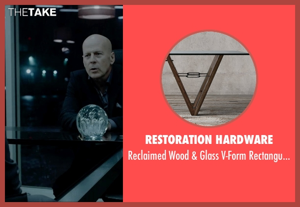 Restoration Hardware table from Vice seen with Bruce Willis (Julian Michaels)