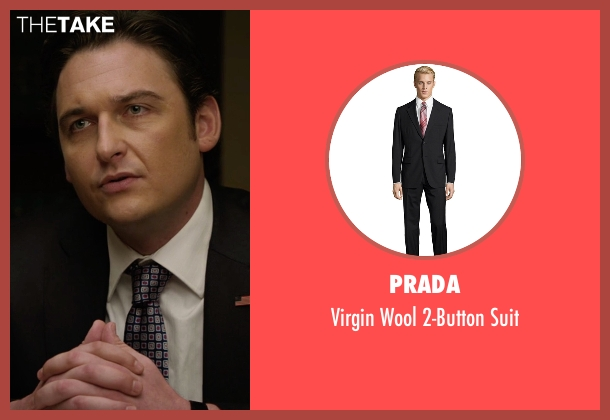 Prada black suit from Billions seen with Bryan Connerty (Toby Leonard Moore)