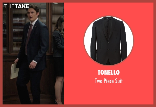 Tonello black suit from Billions seen with Bryan Connerty (Toby Leonard Moore)