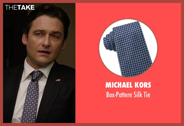 Michael Kors blue tie from Billions seen with Bryan Connerty (Toby Leonard Moore)