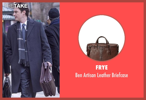 Frye brown briefcase from Billions seen with Bryan Connerty (Toby Leonard Moore)