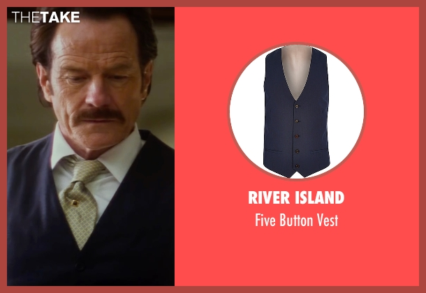 River Island blue vest from The Infiltrator seen with Bryan Cranston (Robert Mazur)