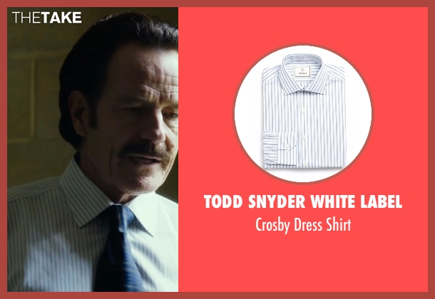 Todd Snyder White Label white shirt from The Infiltrator seen with Bryan Cranston (Robert Mazur)