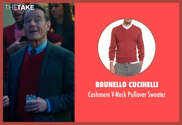 Brunello Cucinelli red sweater from Why Him? seen with Bryan Cranston (Ned)