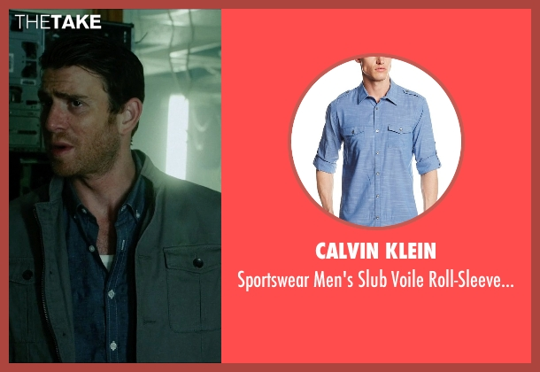 Calvin Klein blue shirt from Vice seen with Bryan Greenberg (Evan)