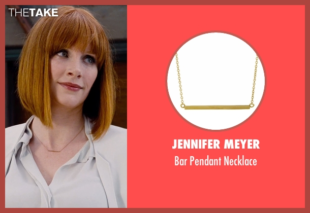 Jennifer Meyer gold necklace from Jurassic World seen with Bryce Dallas Howard (Claire Dearing)