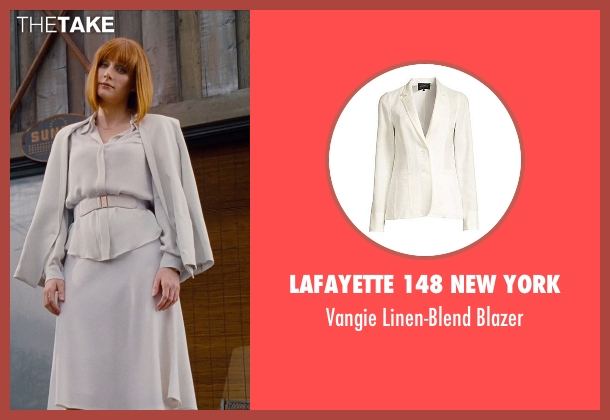Chloé white blazer from Jurassic World seen with Bryce Dallas Howard (Claire Dearing)
