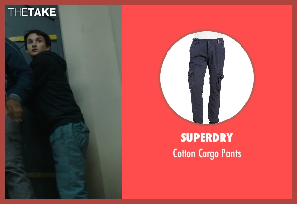 Superdry blue pants from Maze Runner: The Scorch Trials seen with Bryce Romero (Glader)