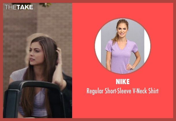 Nike purple shirt from Paper Towns seen with Caitlin Carver (Becca Arrington)