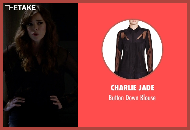 Charlie Jade black blouse from The Flash seen with Caitlin Snow / Killer Frost (Danielle Panabaker)