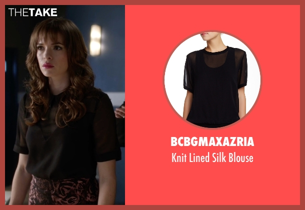 BCBGMaxazria black blouse from The Flash seen with Caitlin Snow / Killer Frost (Danielle Panabaker)