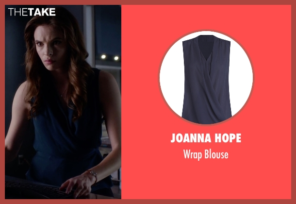 Joanna Hope blue blouse from The Flash seen with Caitlin Snow / Killer Frost (Danielle Panabaker)