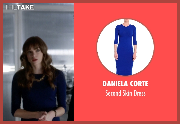 Daniela Corte blue dress from The Flash seen with Caitlin Snow / Killer Frost (Danielle Panabaker)