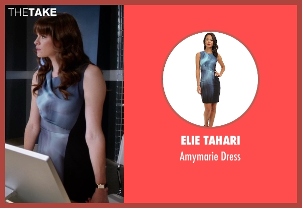 Elie Tahari blue dress from The Flash seen with Caitlin Snow / Killer Frost (Danielle Panabaker)