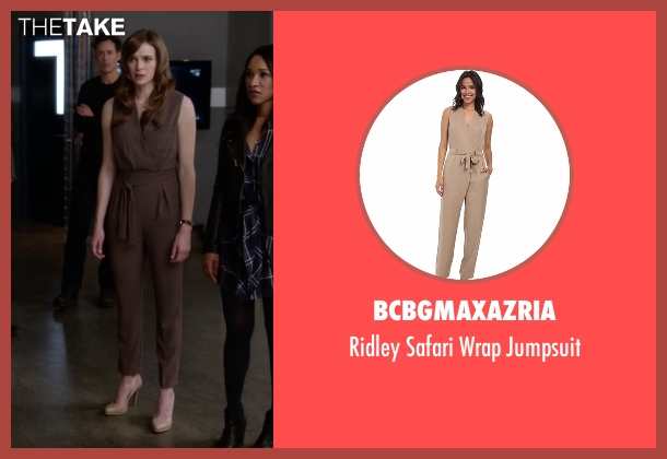BCBGMAXAZRIA brown jumpsuit from The Flash seen with Caitlin Snow / Killer Frost (Danielle Panabaker)