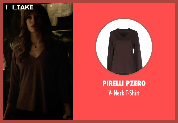 Pirelli Pzero brown t-shirt from The Flash seen with Caitlin Snow / Killer Frost (Danielle Panabaker)