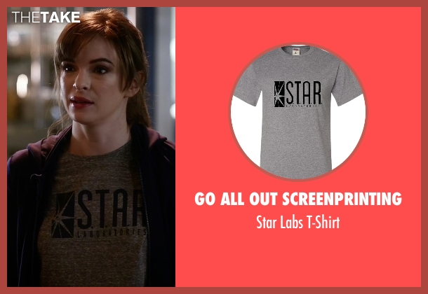 Go All Out Screenprinting gray t-shirt from The Flash seen with Caitlin Snow / Killer Frost (Danielle Panabaker)