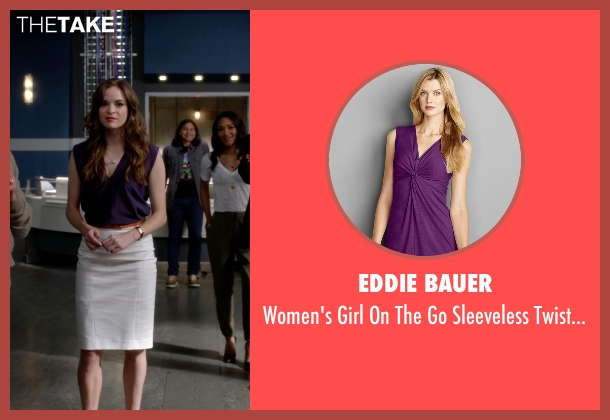 Eddie Bauer purple top from The Flash seen with Caitlin Snow / Killer Frost (Danielle Panabaker)
