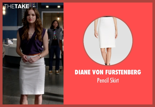 Diane Von Furstenberg white skirt from The Flash seen with Caitlin Snow / Killer Frost (Danielle Panabaker)