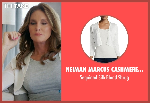 Neiman Marcus Cashmere Collection white shrug from Keeping Up With The Kardashians seen with Caitlyn Jenner