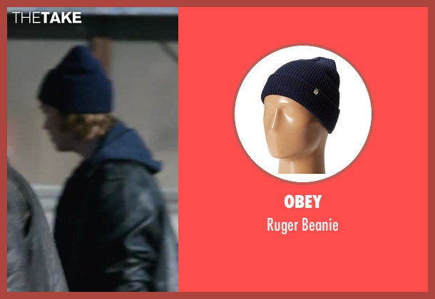 Obey blue beanie from Contraband seen with Caleb Landry Jones (Andy)