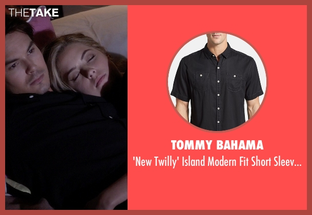 Tommy Bahama black shirt from Pretty Little Liars seen with Caleb Rivers (Tyler Blackburn)