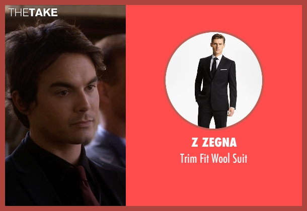 Z Zegna black suit from Pretty Little Liars seen with Caleb Rivers (Tyler Blackburn)