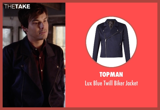 Topman blue jacket from Pretty Little Liars seen with Caleb Rivers (Tyler Blackburn)
