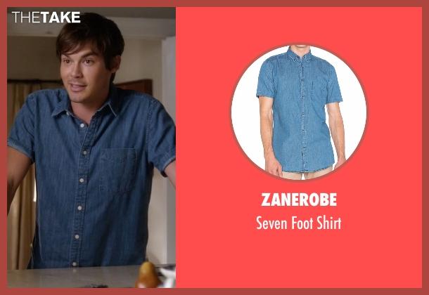 Zanerobe blue shirt from Pretty Little Liars seen with Caleb Rivers (Tyler Blackburn)