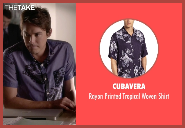 Cubavera purple shirt from Pretty Little Liars seen with Caleb Rivers (Tyler Blackburn)