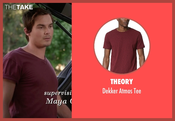 Theory red tee from Pretty Little Liars seen with Caleb Rivers (Tyler Blackburn)
