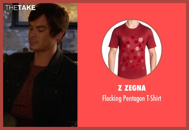 Z Zegna red t-shirt from Pretty Little Liars seen with Caleb Rivers (Tyler Blackburn)
