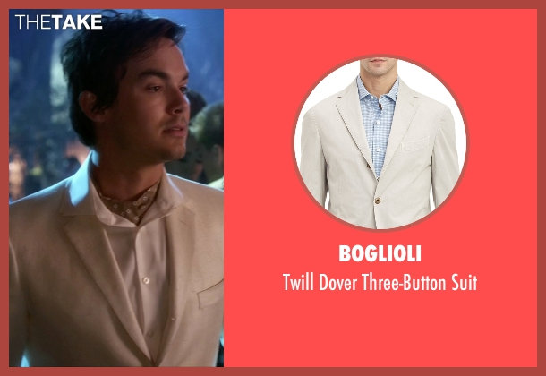 Boglioli white suit from Pretty Little Liars seen with Caleb Rivers (Tyler Blackburn)