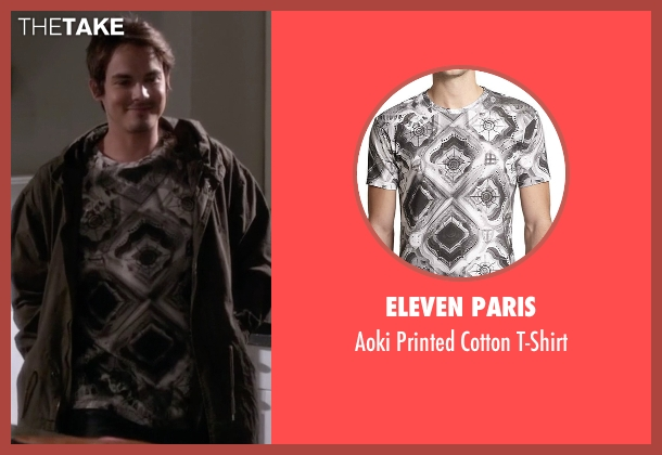 Eleven Paris white t-shirt from Pretty Little Liars seen with Caleb Rivers (Tyler Blackburn)